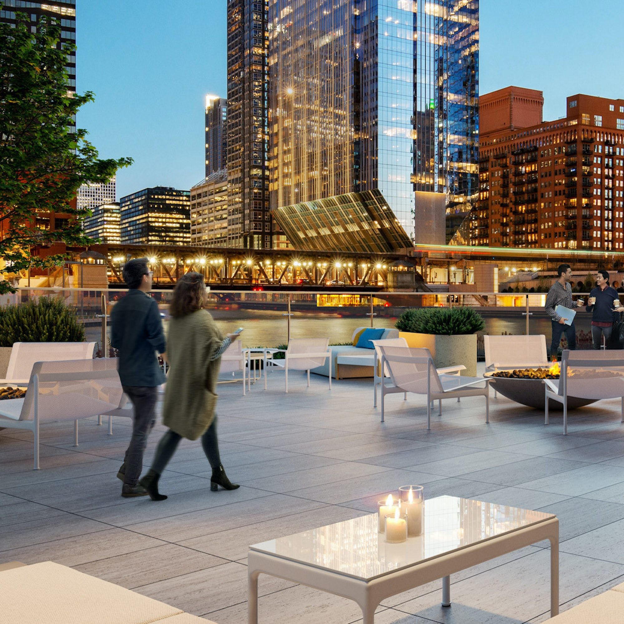 River terrace overlooking downtown