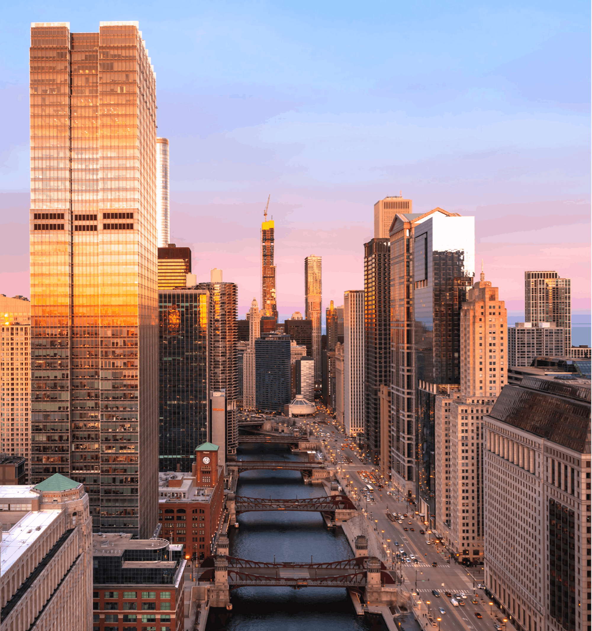 View down chicago river at sunset